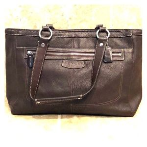 Coach chocolate brown leather tote